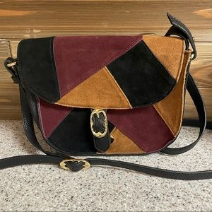 Emma fox saddle handbag suede patchwork shoulder
